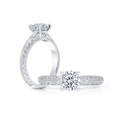 Peter Storm 14k White Gold Solitaire Diamond Engagement Ring