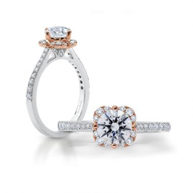 Peter Storm 14k White and Rose Gold Halo Diamond Engagement Ring